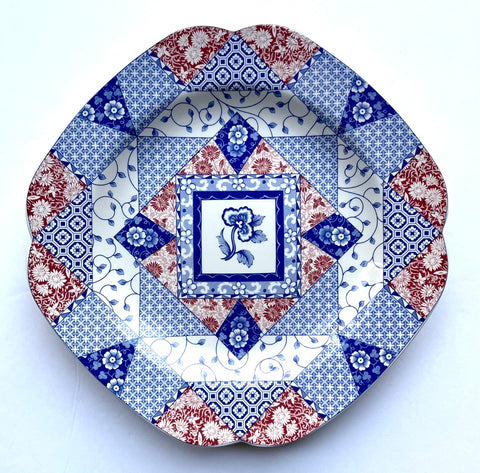 Spode Red & Blue Bi Color Transferware Patchwork Quilt Plate 4