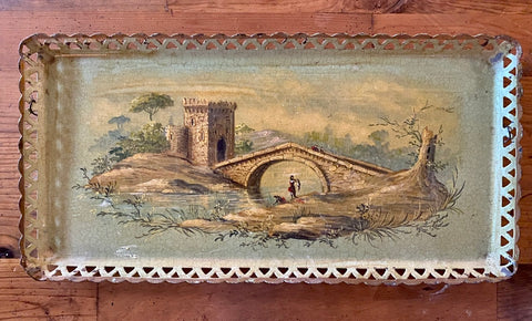 Antique Bridge & Country Castle Green Tole Tray Toleware Hand Painted