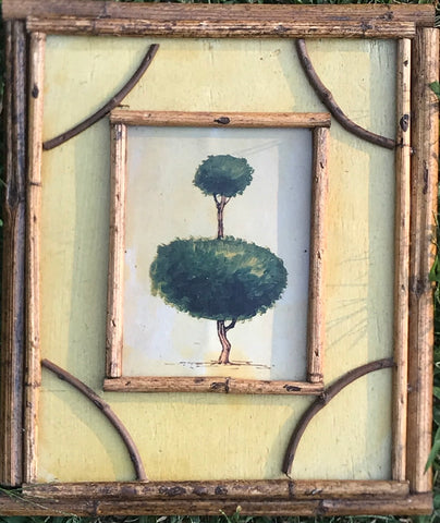Vintage Topiary Print on Board w/ Distressed Bamboo & Twig Frame