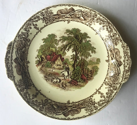Tab Handled Hunting Rural Scenes  Brown Transferware Handled Tray Plate Pastoral Davenport