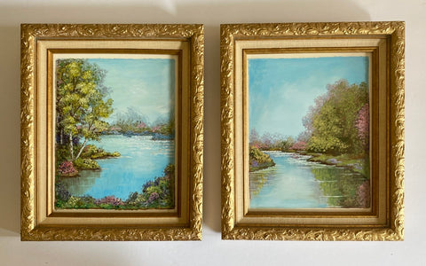 Pair of Vintage Landscape Oil Paintings Spring Flowers River Trees Framed Linen & Gold Wood Frame