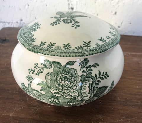Pheasants Roses Green Transferware Transferware Covered Sugar Bowl or Candy Dish