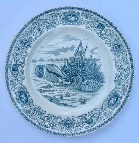Dark Teal Blue Transferware Plate Masons Game Birds Mallard
