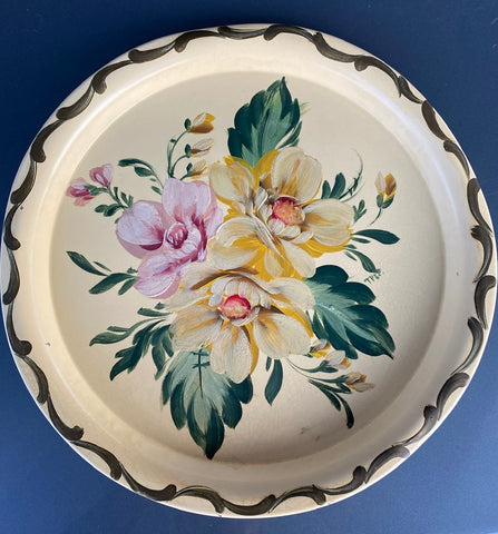 Vintage Artist Signed Hand Painted Oil Round Serving Platter Yellow Tole Tray Toleware w/ Roses