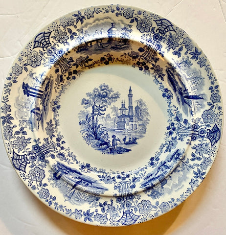 Antique English Victorian Light Blue Transferware Rim Soup Bowl Marmora Ship scenes we