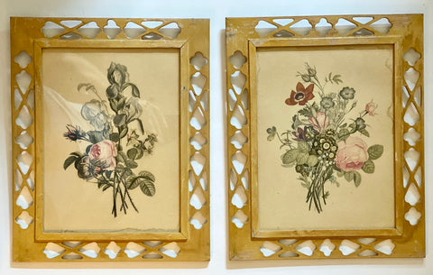 Pair of Vintage Fretwork / Filigree Wood Framed Floral Botanical Redouté Prints