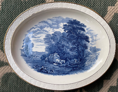 Blue Transferware Platter Children Dog Horse Pulling Cart Embossed Border