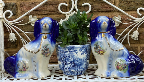 Pair of Blue & Floral Romantic Chintz English Transferware Staffordshire Spaniel Dogs