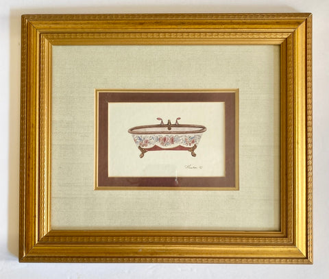 Triple Matted w/ Gold Frame Burgundy Roses Claw Foot Victorian Bath Tub Print