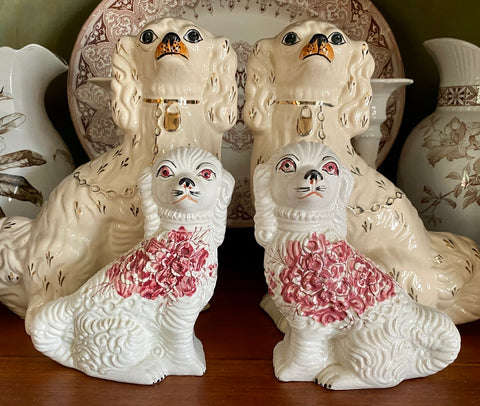 Vintage Pair of Red Floral Bouquet Staffordshire Spaniel Dog Figurines