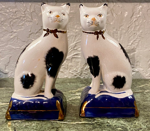 "Vintage 8"" Pair English Staffordshire Black Spotted Cat Figurines on Blue Base"