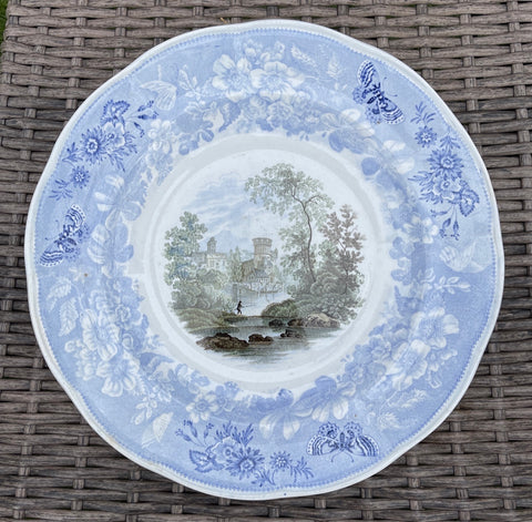 #2 RARE Light Blue Staffordshire Fisherman Castle  FOUR Color Transferware Enoch Wood Butterfly Border Plate 1830