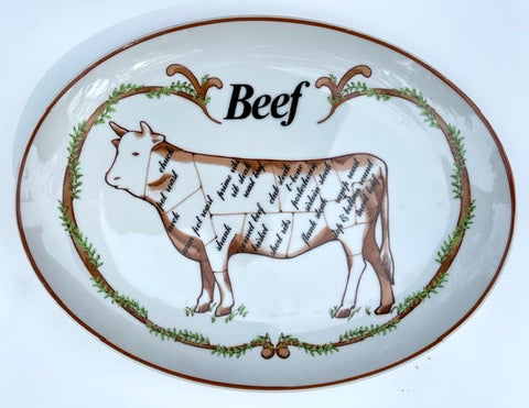 Advertising Black Transferware 🐄 Beefeaters Butcher Beef Cuts Platter Steer Cow