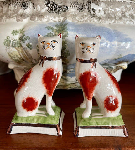 Antique Pair Small Kent Staffordshire Cat Figurines on Green Brown Base