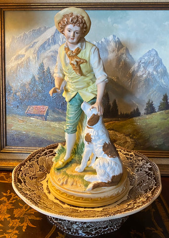 Vintage French / English Country Figurine of English Setter Dog & Peasant Boy Figurine Ethan Allen