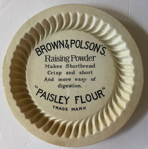 Antique Original Brown & Polson's Shortbread Ironstone Mould Black Advertising Transferware Paisley Flour Plate