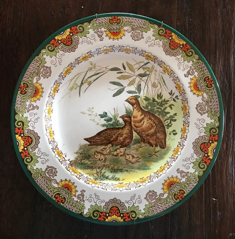 Wedgwood Antique Enameled Clobbered Transferware Plate Partridge in Woodlands