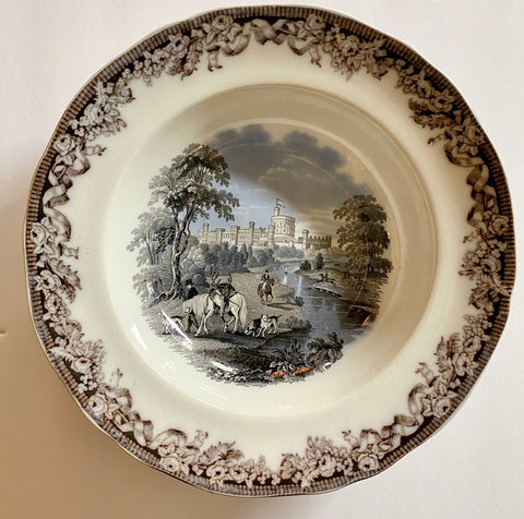 "Two Color Mulberry Black Transferware 10"" Rim Bowl Hunt Scene Windsor Castle"