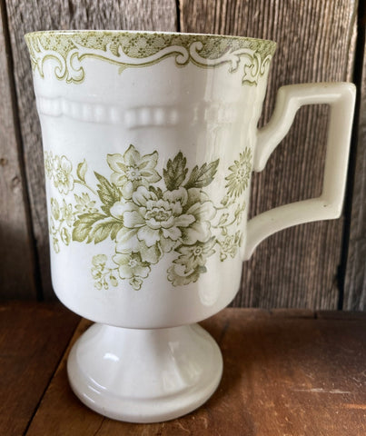 Sage Green Transferware x Tall Footed Mug / Cup Roses Bird Butterfly