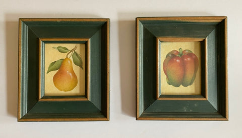vintage Pair of Fruit & Vegetable Prints in Green Wood Frames