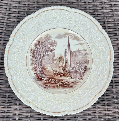 Circa 1930 Brown English Country Transferware Charger Round Platter Hampton Court Embossed Border