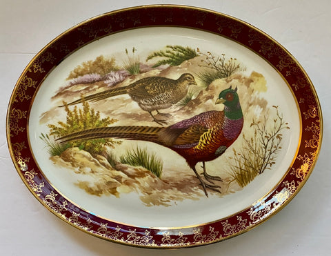 Antique English / French Country woodland Game Bird Pheasant Platter Burgundy Gilt Trim