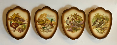 Set of 4 Vintage Woodland Game Bird Wall Plaques Quail Snipe Pheasant