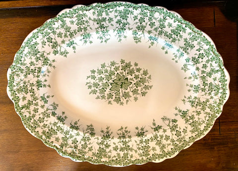 English Ivy Green Transferware Tab Handled Platter Crown Ducal Circa 1930s