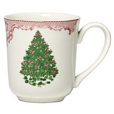 Red / Pink & Green Transferware Mug Cup Christmas Tree w/ Ribbons & Toys Underneath