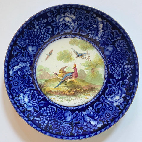 Blue & Brown Game Bird Polychrome Bi Color Transferware Plate w/ Hand Colored Pheasants