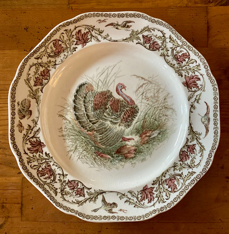 RARE Antique Brown Pink Transferware Staffordshire Thanksgiving Turkey Plate Royal Cauldon