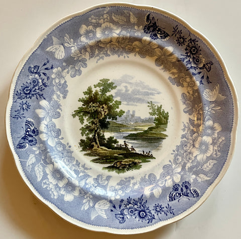 #4 Fisherman RARE Light Blue Staffordshire FOUR Color Transferware Enoch Wood Butterfly Border Plate 1830