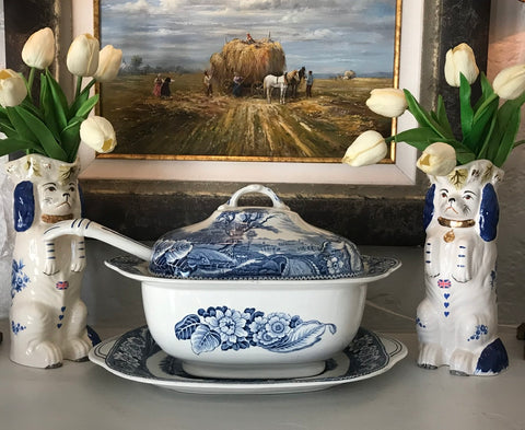 Antique Blue & White RARE Soup Tureen Ladle & Platter Woods Woodland Pastoral Horse & Plough Dog Farmhouse