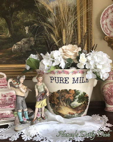 Antique Advertising Grocers Dairy Display English PURE MILK Pail JC Van Hunnick c 1900 RARE