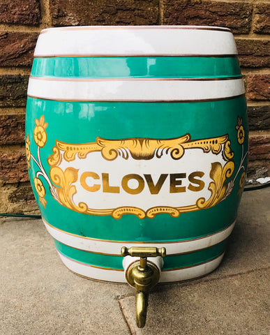 HUGE 19C Antique English Victorian  CLOVES Spirits Barrel  Keg for LAMP / DECOR / BAR