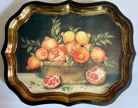 Vintage Wicker Basket of Pomegranate  Still Life Tole Tray Toleware London England