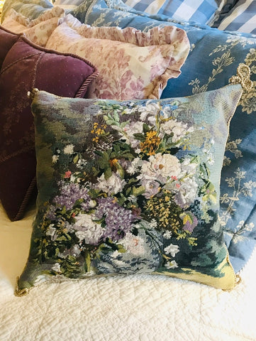 Lavender Flowers Blue Chinoiserie Jar Needlepoint Petit Point  Pillow Cover