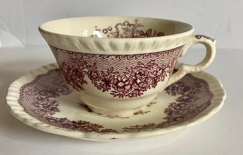 Purple English Transferware Teacup & Saucer Masons Ascot Flower Basket & Butterfly