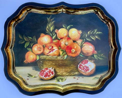 Vintage Wicker Basket of Pomegranates Still Life Tole Tray Toleware London England