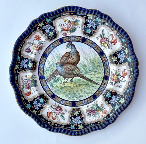 Copeland Spode Upland No. 6 Pheasants Game Birds Enameled Clobbered Antique Bi Color Transferware Plate