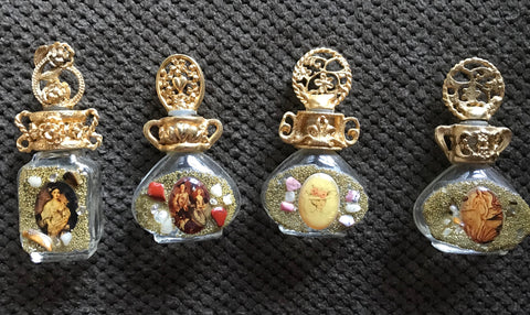 Vintage Adrian Filigree Miniature Perfume Bottle adorned w/ Stones & Image #1