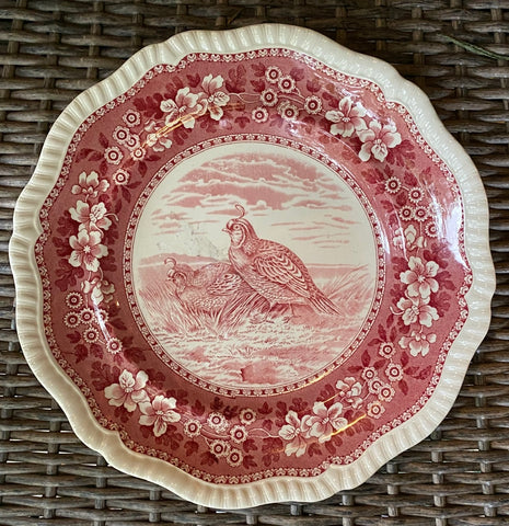 California Quail No 3 Vintage Spode Copeland Tower Red Transferware Game Bird Plate