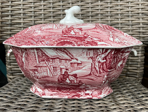 English Red / Pink Transferware Soup Tureen James Kent Foley Pastoral Scene