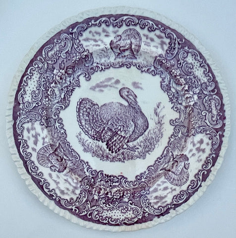 Antique Staffordshire Thanksgiving Turkey Plate Purple Transferware Plate
