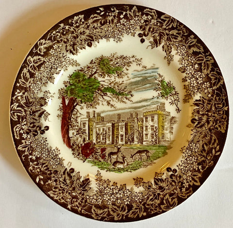Vintage English Transferware polychrome Brown Plate Romantic England Grazing Deer Penshurst Place