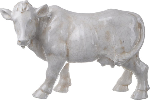 HUGE Butcher Shop Display White Cow / Bull Figurine