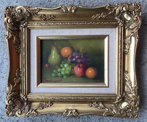 Vintage Signed Still Life Oil Painting Bowl of Fruit Antique Gold Wood Frame