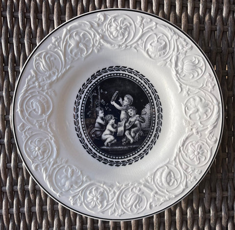 Vintage Wedgwood Valentines Black Transferware Plate Cherubs Children Playing Musical Instruments