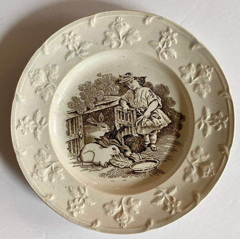 19C Staffordshire Girl & Her Rabbits Nursery Rhyme Childs Plate Brown Transferware