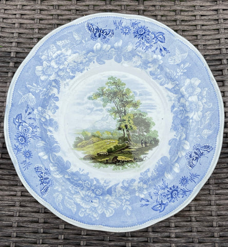 #1 RARE Light Blue Staffordshire FOUR Color Transferware Enoch Wood Butterfly Border Plate 1830